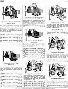 1958 Print Ad of Columbian, Standard, Stanley & Milwaukee Vises