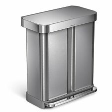 simplehuman Dual Compartment Pedal Bin With Liner Pocket 58 Litre CW2025