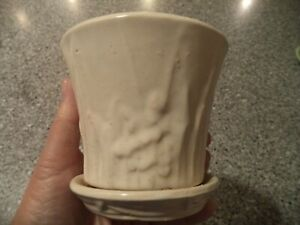 "McCoy Pottery White Embossed Floral 4 1/4"" Planter Matte Finish"