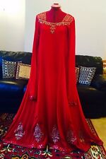 Asiatico/indiano/pakistano Rosso desgner anrkali wedng/party/formale/Maxi/Embriodered 3p