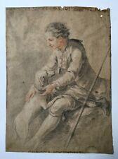 Dessin ancien signé, Portrait d'homme et son chien, Craie noire sanguine, XVIIIe