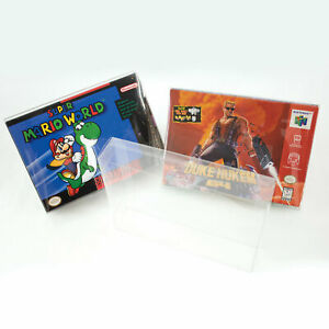 Super Nintendo SNES N64 Plastic Box Protector Cases Clear .35mm Thick