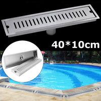 Stainless Steel Shower Long Drain Linear Grate Bathroom Rectangle Floor Drainer