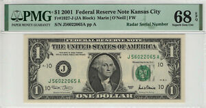 2001 $1 FEDERAL RESERVE NOTE KANSAS CITY RADAR SERIAL TOP POP PMG GEM 68 EPQ