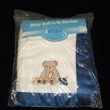 Riegel White Blue Teddy Bear Acrylic Baby Crib Blanket Satin Trim Vintage NEW