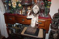 Fang Peoples Gabon Africa Wood Carved Sculpture Woman Basket