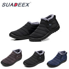 SUADEEX Mens Winter Waterproof Snow Boots Fur Lined Slip On Outdoor Warm Shoes