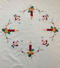 More details for vintage embroidered applique christmas tablecloth