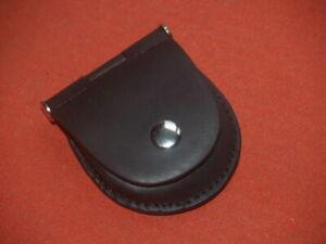 Black Leather Pocket Watch Pouch Case