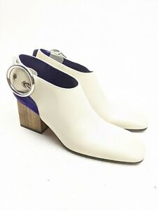 USED ONCE Celine White Leather Slingback Mules Heels Wooden Block Pumps Sz 37 EU