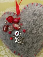 Handmade Wool Felt Christmas Tree Decoration - Scandinavian heart Beaded