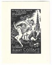 CHARLES FAVET: Exlibris für Albert Collart, 1952, Elfe und Satyr