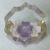 Vintage retro 1950s reverse carved lucite violet mother brooch pin green gift