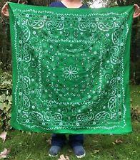 Giant Extra Large Oversize Bandana / Wild Rag, 42x42 inches, Green Paisley PPE