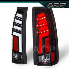 Tron Style White LED Neon Tube Clear Len Black Housing Tail Lights For 88-98 C10
