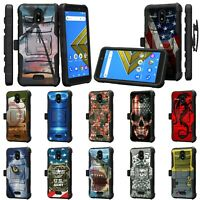 For Cricket Icon / Radiant Core / Wiko Ride Rugged Armor Holster Belt Clip Case