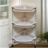 3 4 TIER HEAVY DUTY PLASTIC KITCHEN FRUIT VEGETABLE TROLLEY STORAGE STAND RACK