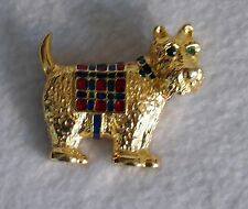 SCOTTIE SCOTTISH TERRIER DOG rhinestone enamel PIN BROOCH