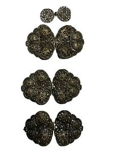 Vintage Brass Tone Ornate Large  Clasp Fastening Closures