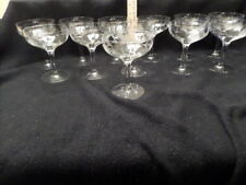 Set of 12 Vintage Etched Champagne Glasses - Great condition - see photos