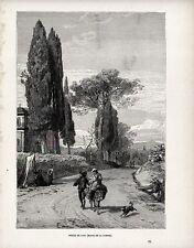 Stampa antica Strada fra CAVI e GENAZZANO nella campagna di Roma 1891 Old print