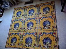 """GOBLY'S France Tapestry Throw Rug 59""""x59"""" Yellow Peacocks Roses Drapes Tussles"""