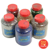 Glitter Craft Iridescent Gold Silver Green Red Blue Glass Nail Art Shakers Tub