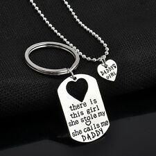 Father Daughter Keychain & Daddys Girl Necklace Set Gift for Father Daughter