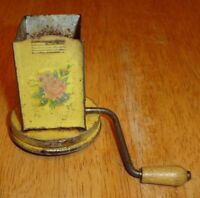Old Vintage Yellow / Pink Flower Hand Crank Metal Nut Grinder Lid Only (No Jar)