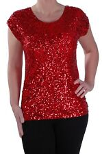 Womens Cap Sleeve Scoop Neck Sequined Sparkle Party Ladies Blouse Tunic Top