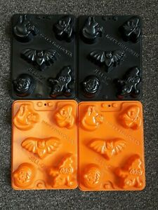 Lot of 4 Jell-O Jigglers Molds ~ Happy Halloween ~ Ghost Pumpkin Cat Bat Witch