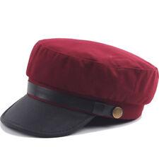 Men Women Army Leather Cap Cadet Military Navy Sailor Flat Top Sun Hat Vintage