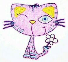 "Cat Patch Pink Kitten Embroidered Iron On Patch Applique 3.00"" X 2.75"" CUTE"