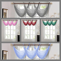 1PC WATERFALL SHEER VALANCE BRONZE GROMMET DECOR CURTAIN TOPPER SOLID COLORS K36