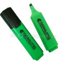Pack Of 10 - Neon Green Highlighters. Dataglo SQ. Chisel Tip Highlighter Pen