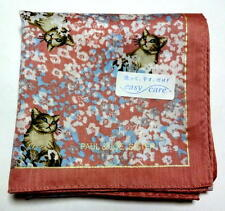 PAUL & JOE SISTER handkerchief scarf pocket square Pink Cat Auth New Collectible