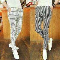 Fashion Men's Slim fit Trousers Skinny Stripes Casual Plaid Stretch pencil Pants