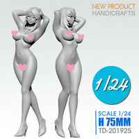 1:24 Scale 75mm Sexy Girl Resin Figure Static Model Kits Unpainted Unassembled