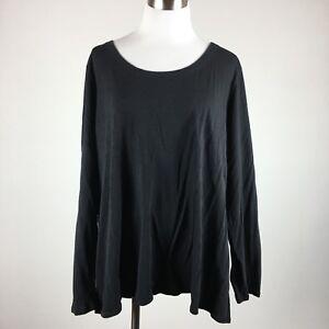 Cacique Womens Sleepshirt Size 22 24 Black Pullover Cotton Blend Long Sleeve