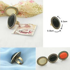 NEW Vintage Big Oval Black Rhinestone Finger Ring Adjustable Women Xmas Gift CN