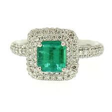 Sólido Platino 2.46ctw Emerald Solitario & Doble Redondo Pavé De Diamante Anillo