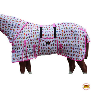 Horse Fly Sheet Uv Protect Mesh Bug Mosquito Summer Butterfly Pink U-S112