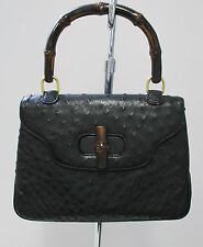 GUCCI Black Ostrich & Bamboo Top Handle Vintage Bag - Excellent!