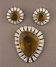 1960s signed HAR Large Citrine & Clear Rhinestone Brooch & Earrings Set