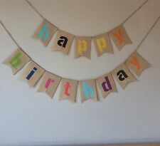 ❤️HAPPY BIRTHDAY Bunting Banner. Vintage Hessian Burlap❤️