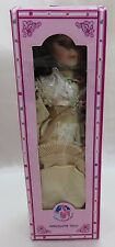 J Misa Porcelain Doll Brown Hair Cream Dress Hat Parasol Never Removed from Box