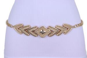 Women Narrow Belt Hip Waist Gold Metal Chain Arrowhead Charm Buckle Size M L XL