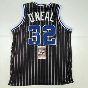 Autographed/Signed SHAQUILLE SHAQ O'NEAL Orlando Black Pinstripe Jersey JSA COA