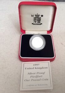 1997 Silver Proof Piedfort One Pound Coin Three Lions English Design