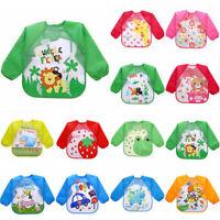 Children Baby Kids Toddler Waterproof Long Sleeve Art Smock Feeding Bib Apron